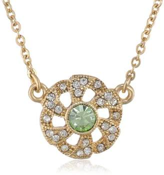 "Downton Abbey ""Carded"" Silver-Tone Aquamarine and Crystal Flower Adjustable Pendant Necklace"
