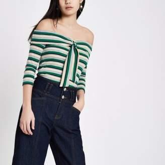 River Island Womens Green stripe rib tie front bardot top