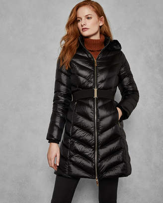 Ted Baker MILLSA Chevron long quilted jacket