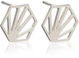 Rachel Jackson London - Small Hexagon Earrings Silver