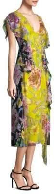 Prabal Gurung Floral Chiffon Midi Dress
