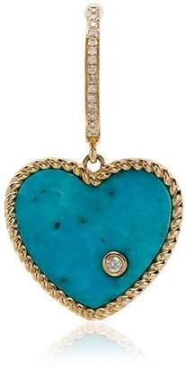 Leon Yvonne 18k gold, diamond and turquoise singular drop earring