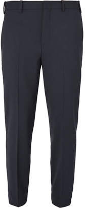 Neil Barrett Cropped Slim-Fit Tapered Grosgrain-Trimmed Stretch-Woven Trousers
