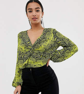 0a3cd2e530a Asos DESIGN Petite long sleeve twist front body in snake animal print