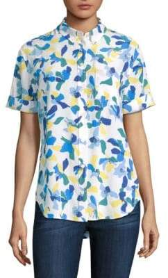 Equipment Betty Color Block Floral Blouse