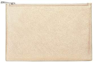 Aspinal of London Large Essential Flat Pouch In Gold Dust Sparkle