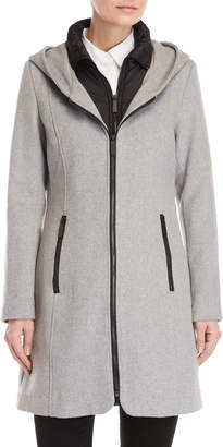 Kenneth Cole New York Wool-Blend Bibbed Hooded Coat