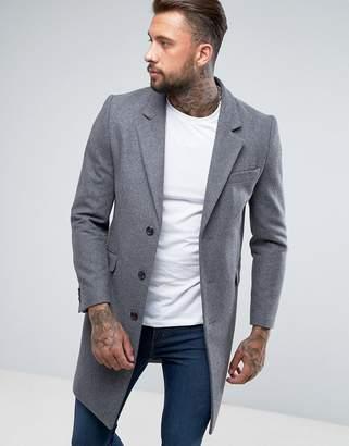 Asos Design DESIGN wool mix overcoat in light gray