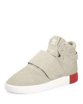 Adidas Men's Tubular Invader Suede Mid-Top Sneaker $110 thestylecure.com