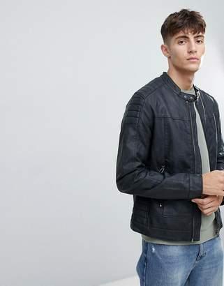 Esprit (エスプリ) - Esprit Faux Leather Biker Jacket With Stitch Detail