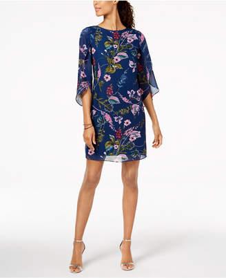 MSK Angel-Sleeve Floral-Print Shift Dress