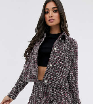 Fashion Union Petite crop jacket in tweed with pearl buttons co-ord