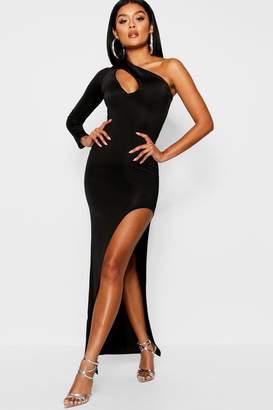 boohoo Slash Detail Slinky One Shoulder Maxi Dress