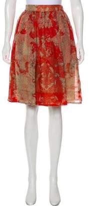Wes Gordon Floral Print A-Line Skirt