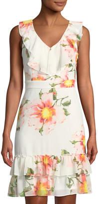 Karl Lagerfeld Paris Ruffle-Front Floral Chiffon Dress
