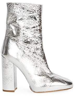Dries Van Noten Women's Metallic Leather Block Heel Booties