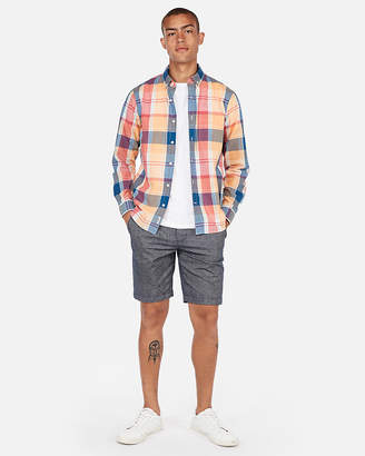 Express Slim Plaid Button-Down Shirt