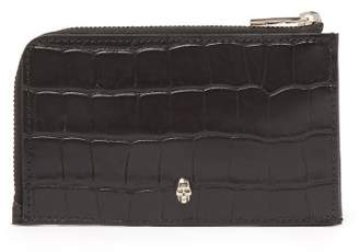 Alexander McQueen Skull Embellished Croc Effect Leather Wallet - Mens - Black