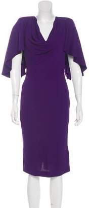 Alexander McQueen Ruffled-Accented Midi Dress