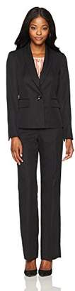 Le Suit Women's Pinstripe 1 Button Shawl Collar Pant Suit with Cami