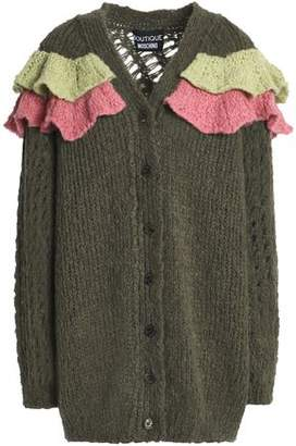 Moschino Ruffled Open And Ribbed-knit Cardigan