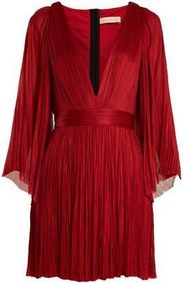 Maria Lucia Hohan Lur deep V-neck pleated silk-tulle mini dress
