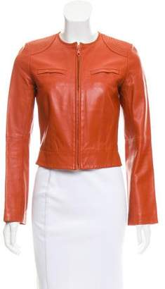 Joseph Collarless Leather Jacket