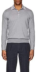 Fioroni Men's Cotton-Cashmere Long-Sleeve Polo Shirt - Gray