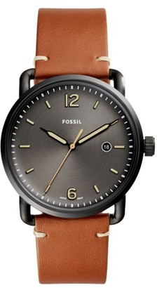 Fossil The Commuter Leather Strap Watch, 42Mm $115 thestylecure.com