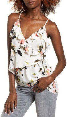Women's Leith Wrap Front Ruffle Tank $55 thestylecure.com