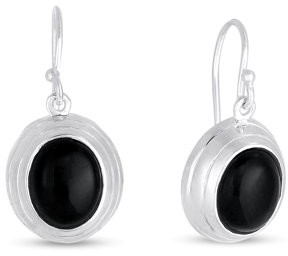 Forever New Onyx Oval Drop Earrings in Sterling Silver