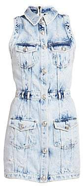 Balmain Women's Bleached Denim Mini Dress