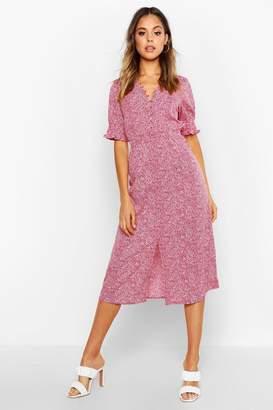 boohoo Polka Dot Print Skater Midi Dress