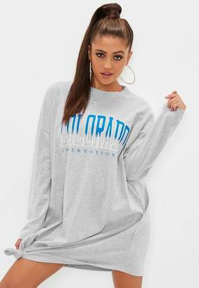 Missguided Gray Colorado Long Sleeve Knot Detail Dress