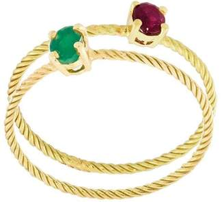 Wouters & Hendrix Gold Emerald & Ruby set of rings