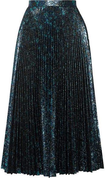 Prada - Pleated Metallic Jacquard Midi Skirt - Blue