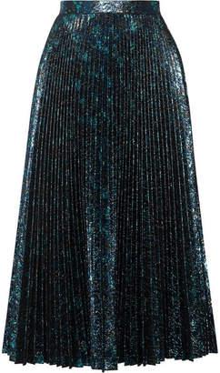 Prada Pleated Metallic Jacquard Midi Skirt - Blue