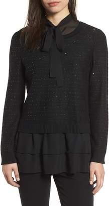 Ming Wang Ruffle Tunic Sweater