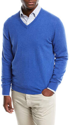 Neiman Marcus Men's Cloud Cashmere V-Neck Sweater