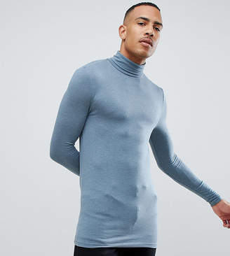 Asos Design DESIGN Tall muscle fit long sleeve t-shirt with roll neck in blue