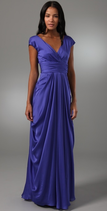 Lela Rose V Neck Gown with Ruched Waist