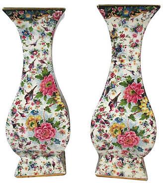 One Kings Lane Vintage Tall Antique English Chintz Vases - Set of 2