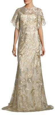 Theia Metallic Embroidered Gown