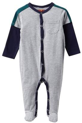 7 For All Mankind Embroidered Pocket Footies (Baby Boys)