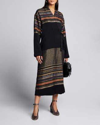 Zero Maria Cornejo Tasmeen Basket-Woven Wrap Coat