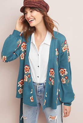 Moth Floral Intarsia Wrapped Cardigan