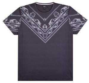 Mens Big & Tall And Silver Baroque Placement T-Shirt