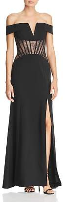 BCBGMAXAZRIA Off-the-Shoulder Corseted Gown
