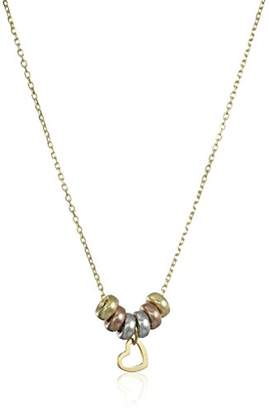 14k Gold Italian Tri-Color Diamond-Cut Rolo Chain Heart and Circles Necklace