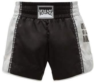 Versace Logo Patch Satin Boxing Shorts - Mens - Black